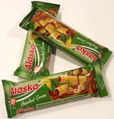 Alaska Mogyoró ízű krémmel töltött kukorica rudacskák 18 gr.