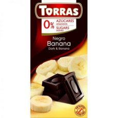 TORRAS gluténmentes diabetikus banános étcsokoládé hozzáadott cukor nélkül 75 g