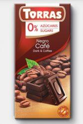 TORRAS gluténmentes diabetikus kávés étcsokoládé hozzáadott cukor nélkül 75 g
