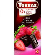 TORRAS gluténmentes diabetikus epres étcsokoládé hozzáadott cukor nélkül 75 g